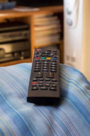 colorful TV remote on the couch