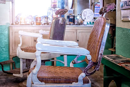 antique chair: Vintage Barbershop, close up Stock Photo