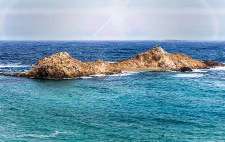 Small islet - Pregonda cove, Balearic Islands Banco de Imagens