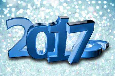 New year 2017, 3d illustration on snowflake Background