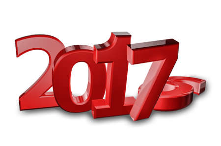 New year 2017, (representation of change to new year) 3d illustration isolated on white background