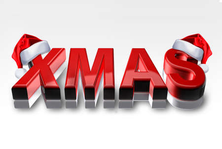 3d render of the word Xmas in red color with santa hat in red - Isolated on white background