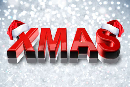 3d render of the word Xmas with santa hat in red - colorful snowflake Background Banco de Imagens