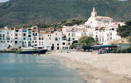 skyline View of the .village of Cadaques in the Costa Brava, Catalonia, Spain - (vintage tone film effect)