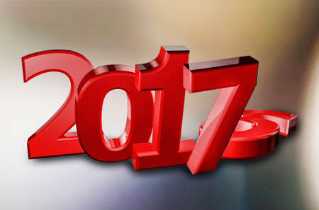 New year 2017, (representation of change to new year) 3d illustration on colorful background