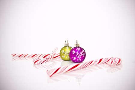 Christmas tree decorations on white background photo