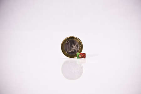 one Euro Coin with some european flags Stock Photo - 16883172