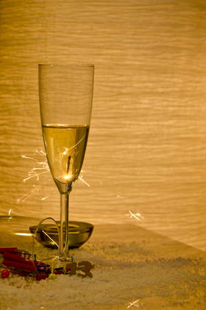 Some glasses with champagne and sparkles in the background  Stock Photo - 16883194