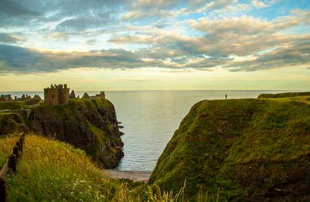 dunnottar castle: Dunnottar Castle Rock in the evening light