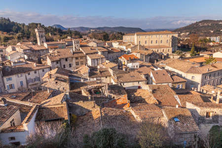 Viviers over the roofs small village in France
