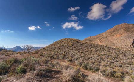 scrub grass: Nature reserve area Landscape Spain Stock Photo