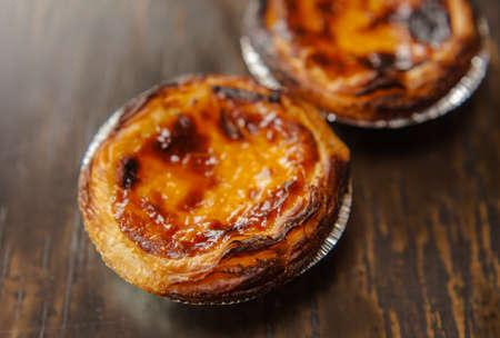 nata: Pasteis de nata Portuguese snack Stock Photo