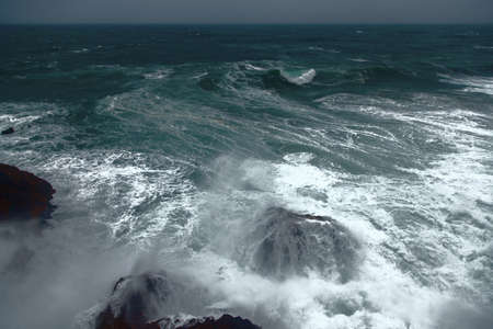 unstoppable: Wild Atlantic waves on Portugals coast at cabo Sardao Stock Photo