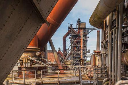 steelworks: Landschaftspark Nord Duisburg blast fornace  former steelworks  industry monument in Duisburg Ruhr Area Germany