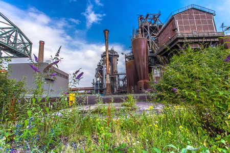 steelworks: Landschaftspark Duisburg-Nord, former steelworks  industry and Nature Duisburg Ruhr Area Germany