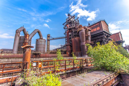 Landschaftspark Duisburg-Nord, former steelworks  industry monument in Duisburg Ruhr Area Germany Stock Photo
