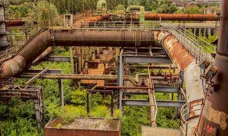 steelworks: Landschaftspark Duisburg-Nord former steelworks industry and Nature Duisburg Ruhr Area Germany Stock Photo
