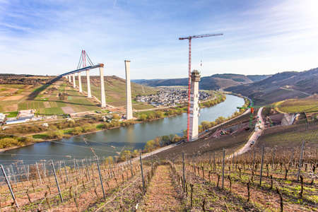 famous industries: High Moselle Bridge construction side view over the Moselle valley Landscape  Rheinland Pfalz Germany