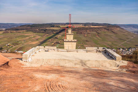 wine road: High Moselle Bridge construction side view over the Moselle valley Landscape  Rheinland Pfalz Germany