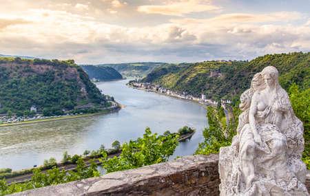 Loreley figure and Rhine valley  Landscape Pop view sankt Goarshausen Germany
