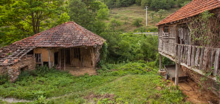 Old rustic houses in a village in the Country  Demir Khisar  Macedonia  Travel