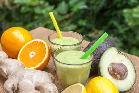ginger-avocado shot healthy Power- Drink Smoothies  on daylight Stock Photo