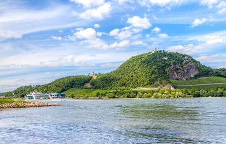 Rhine and Drachenfels Landscape at Koenigswinter  Siebengebirge Germany