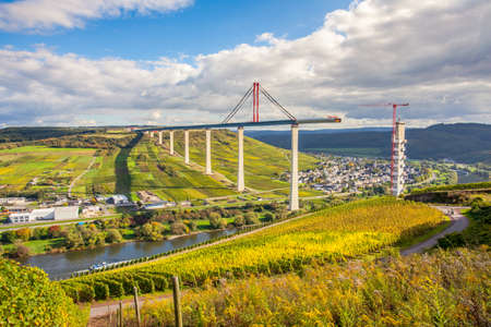 Moselle Vineyads Landscape and Hochmoselbruecke under constraction Germany Stock Photo