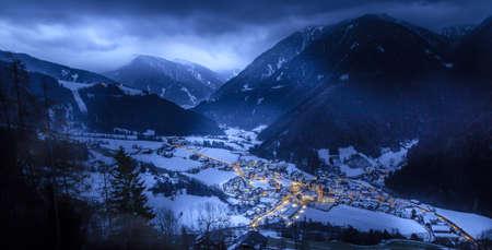 top view on snowy village luesen valley  with night illumination south tirol Italy Reklamní fotografie