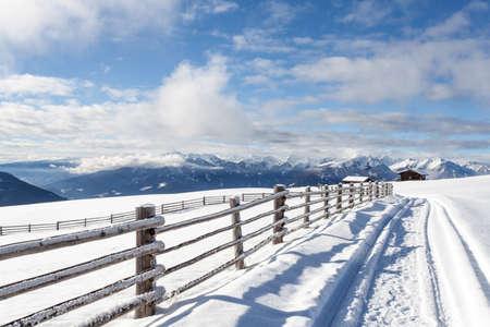 snow mountains landscape and blue sky in south tirol Italy  winter season Reklamní fotografie