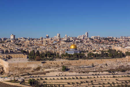 The holy city Jerusalem view from the Oelberg on Old Town and Temple Mount Travel Israel