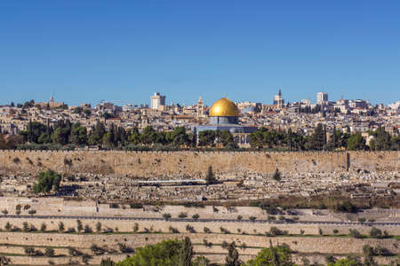 Jerusalem cityscape view from the Oelberg on Old Town and Temple Mount Israel