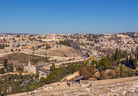 The holy city Jerusalem view from the Oelberg on Old Town and Temple Mount