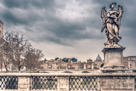Ponte Sant Angelo Bridge over the river Tiber in Rome Italy Europe Winter Travel  Cities
