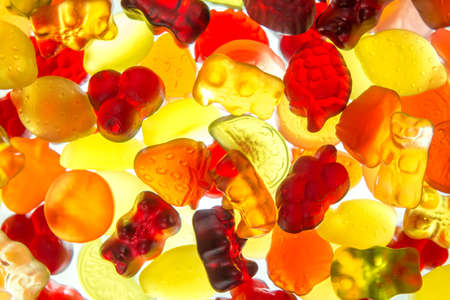 colorful fruit gums mix bright translucent on illuminate underground Haribo sweets