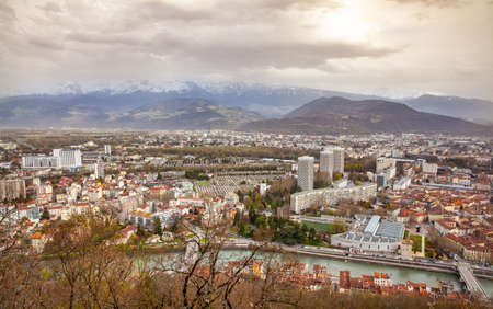 cityscape of  Grenoble  view from the Bastille France Europe Stock Photo