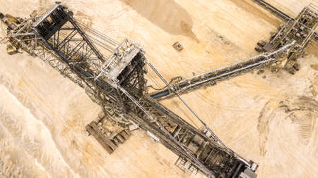 Aerial view  of coal mine Giant excavator in Germany Havy Industry