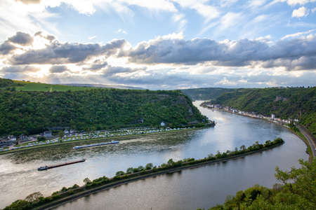 Rhine valley Landscape and Sankt Goarshausen view from the Loreley rock Travel Germany Archivio Fotografico