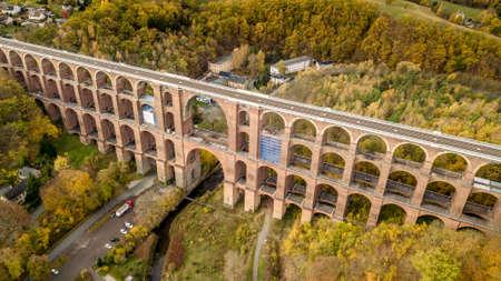 Aerial view on the Goeltzschtalbruecke in Netzschkau Vogtland Germany largest brick bridge of the world Stock Photo