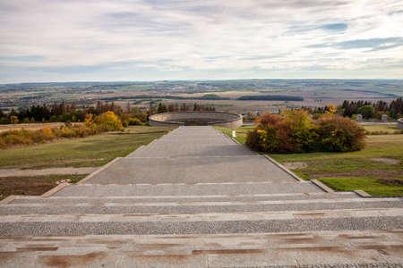 Buchenwald monument footpath through the terrain in Ettersberg Weimar Germany