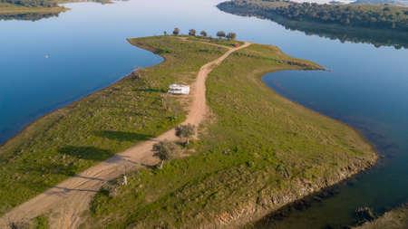 Drone Aerial View of the Alqueva dam Monsaraz  Alentejo Portugal  Nature Landscape Imagens