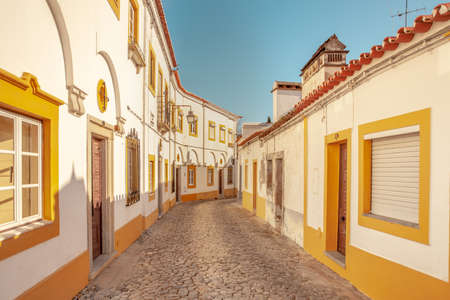Traditional Portuguese residential  exterior Architecture in the city Evora Portugal Travel Cities