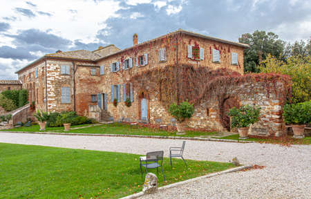 Tuscany Typical Picturesque old Guest house  Fattoria dell Amorosa Travel Italy 写真素材