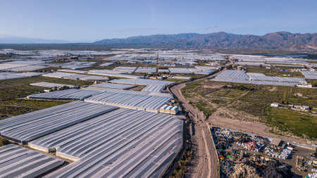 Drone aerial view of the greenhouses in the region of Andalusia Mar del Plastico or Europe's plastic garden Stock Photo