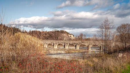 Roman Bridge Historic Monument Landscape in  Viviers Frane Provence Stock Photo