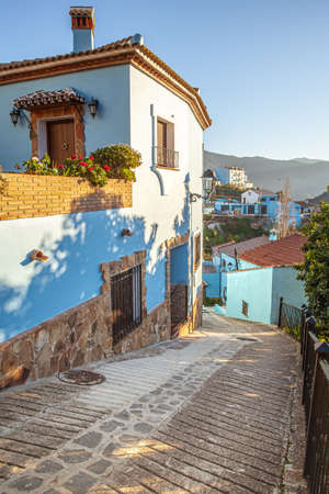The famous blue village Juzcar also called smurf village in  Spain Andalusia 版權商用圖片