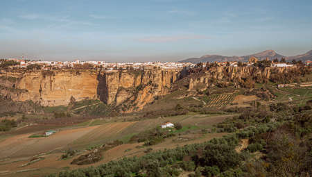 Andalusia Agriculture  Landscape with view of the cityscape of Ronda Travel Spain Standard-Bild
