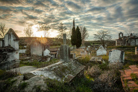 Abandoned church ruin and cemetery overgrown landscape Nature Lost Places Standard-Bild