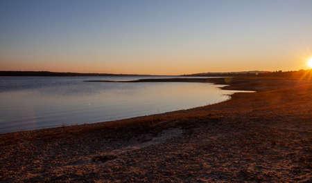 Golden hour  at the Montargil Reservoir Ponte de Sor Portugal Nature Travel