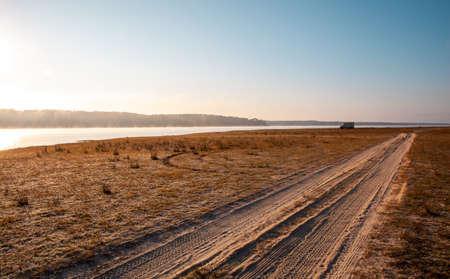 Camper at the reservoir Montargil Ponte de Sor Alentejo Portugal Standard-Bild